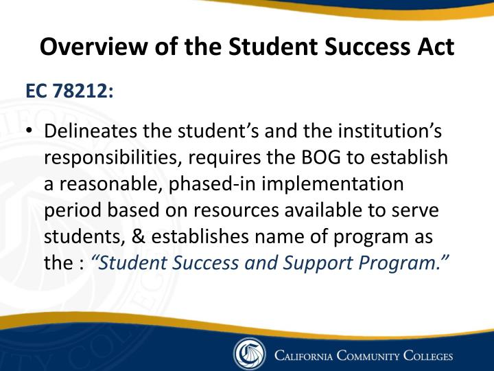 Overview of the Student Success Act