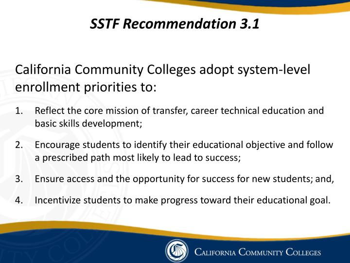 SSTF Recommendation 3.1