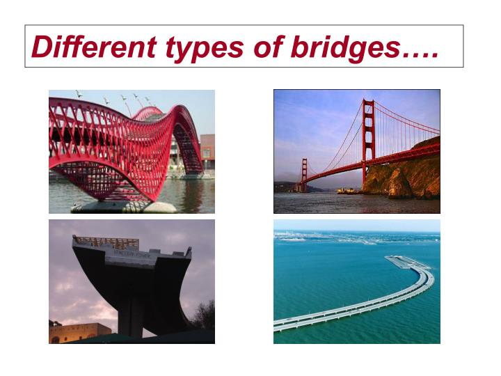 Different types of bridges….