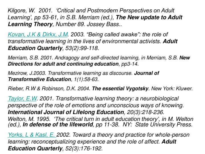 Kilgore, W.  2001.  'Critical and Postmodern Perspectives on Adult Learning', pp 53-61, in S.B. Merriam (ed.),