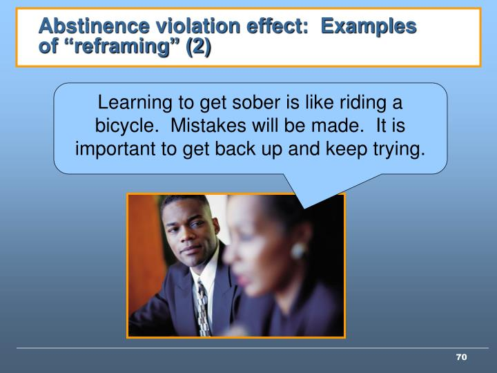 "Abstinence violation effect:  Examples of ""reframing"" (2)"