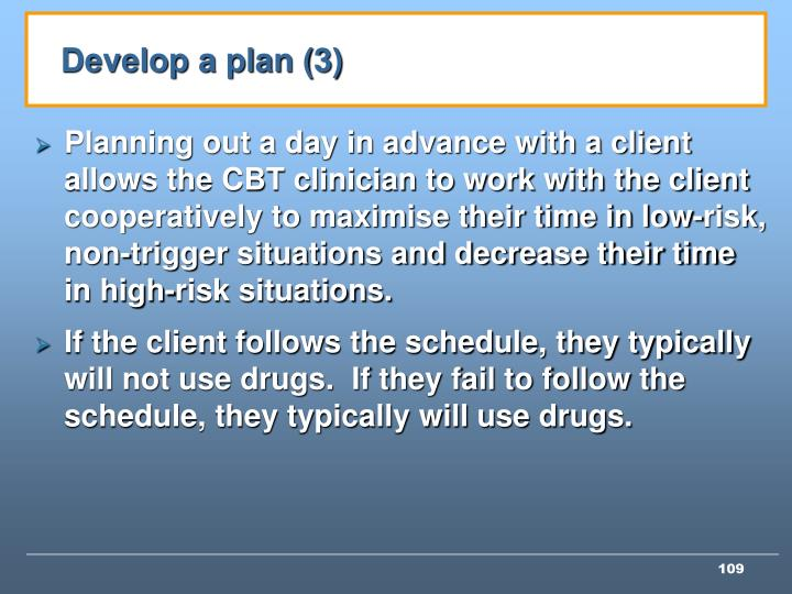 Develop a plan (3)