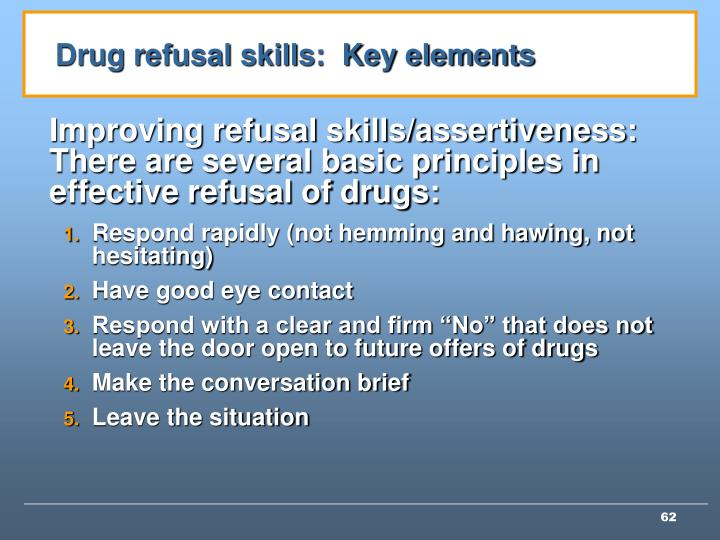 Drug refusal skills:  Key elements
