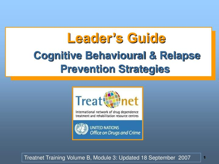 Leader s guide cognitive behavioural relapse prevention strategies