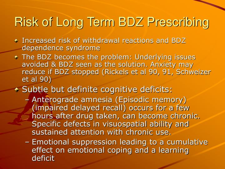 Risk of Long Term BDZ Prescribing