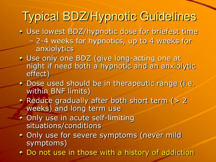 Typical BDZ/Hypnotic Guidelines