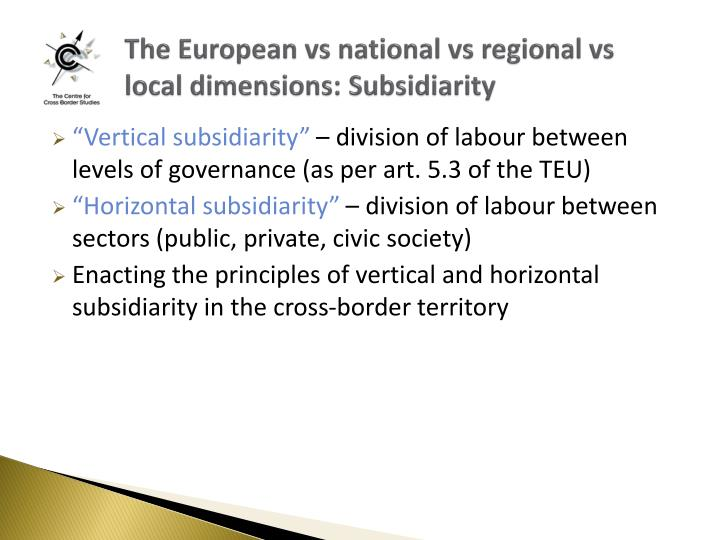 The European vs national vs regional vs local dimensions: Subsidiarity