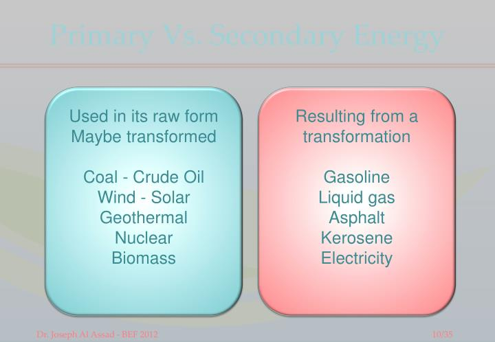 Primary Vs. Secondary Energy