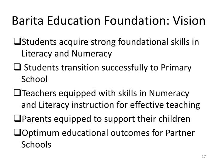 Barita Education Foundation: Vision