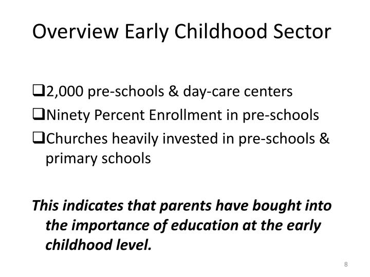 Overview Early Childhood Sector