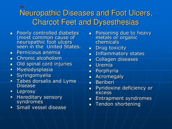 Poorly controlled diabetes (most common cause of neuropathic foot ulcers seen in the  United States.