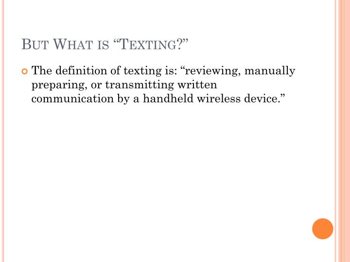"But What is ""Texting?"""