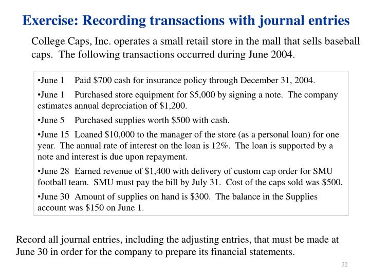 Exercise: Recording transactions with journal entries