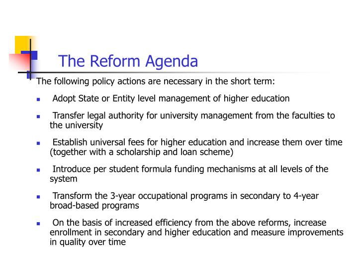 The Reform Agenda