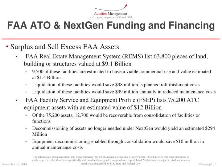 FAA ATO & NextGen Funding and Financing