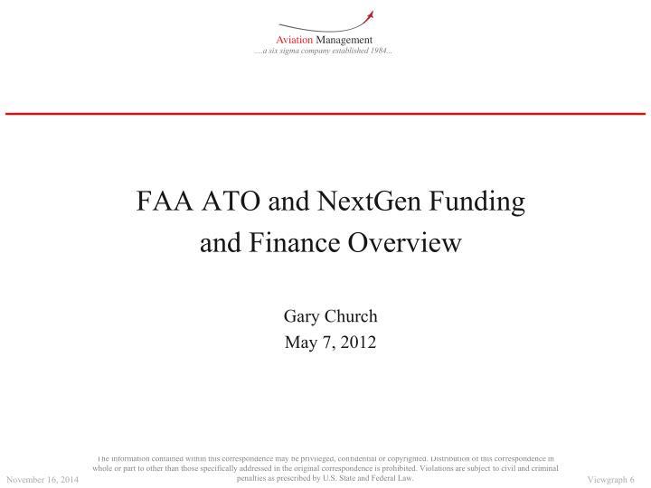 FAA ATO and NextGen Funding