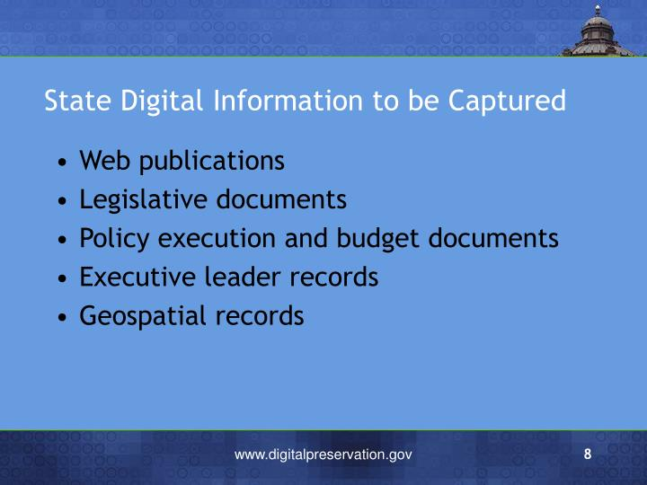 State Digital Information to be Captured