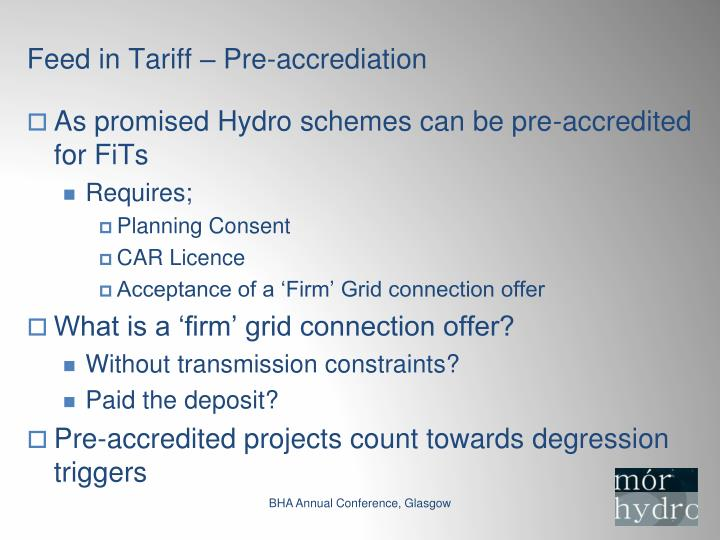 Feed in Tariff – Pre-accrediation