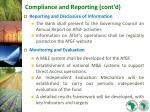 compliance and reporting cont d