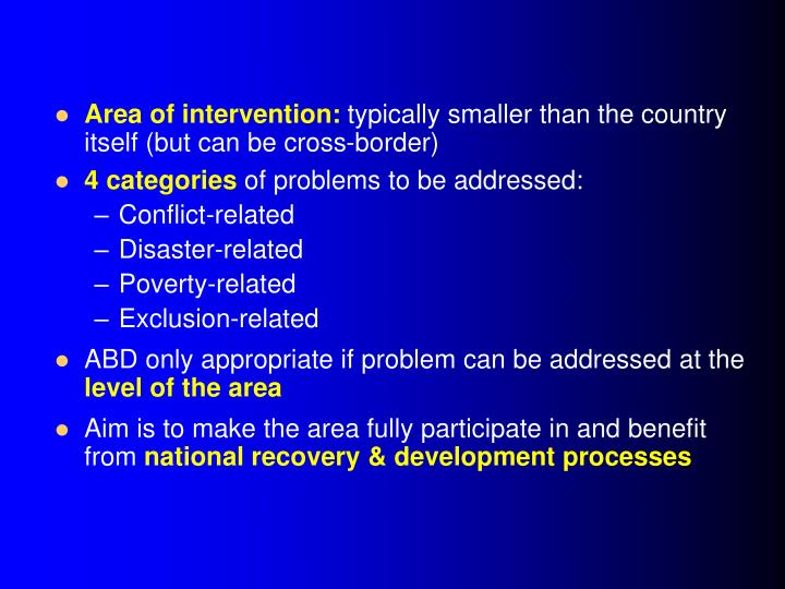 Area of intervention: