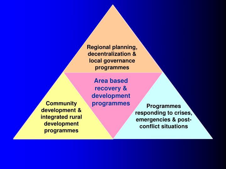 Regional planning, decentralization & local governance programmes