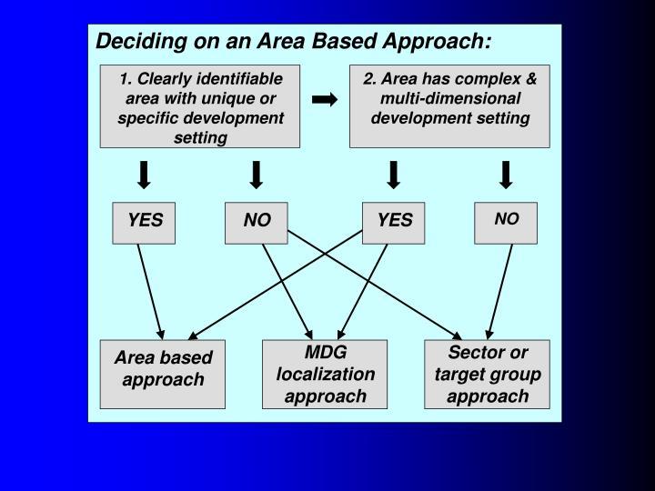 Deciding on an Area Based Approach: