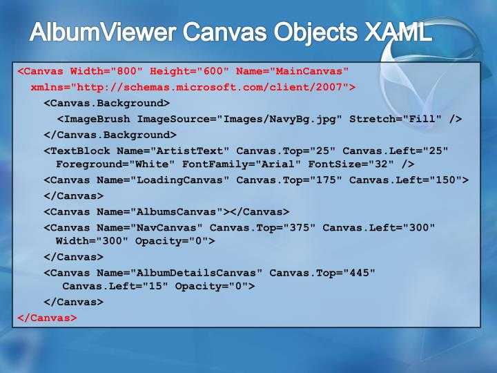 AlbumViewer Canvas Objects XAML