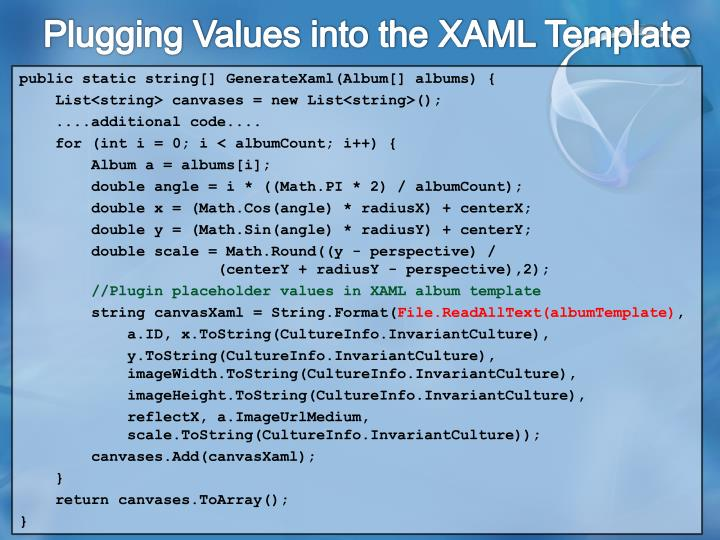 Plugging Values into the XAML Template