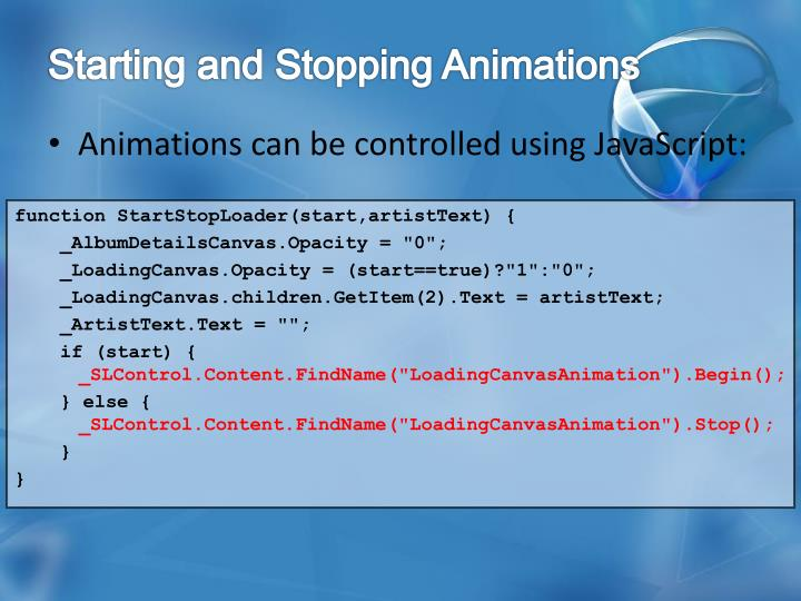 Starting and Stopping Animations