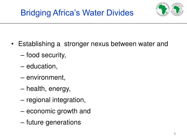 Bridging Africa's Water Divides