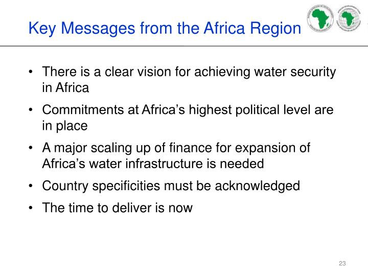 Key Messages from the Africa Region