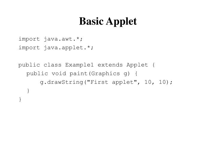 Basic Applet