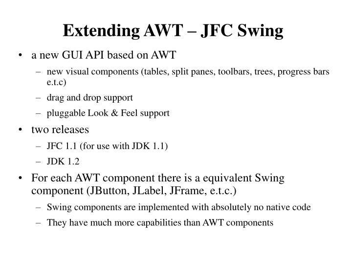 Extending AWT – JFC Swing