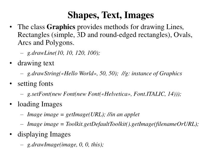 Shapes, Text, Images