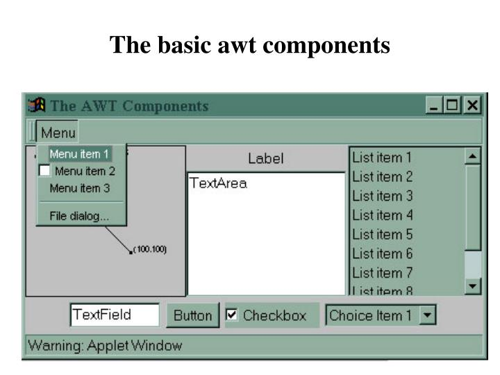 The basic awt components
