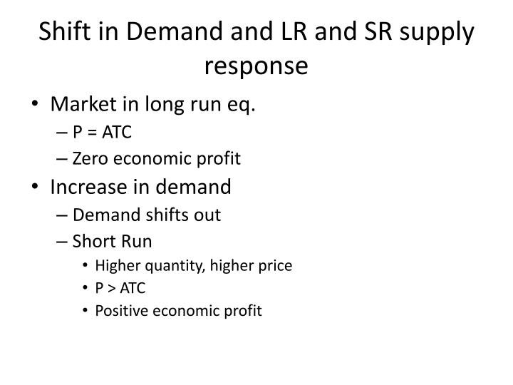 Shift in Demand and LR and SR supply response