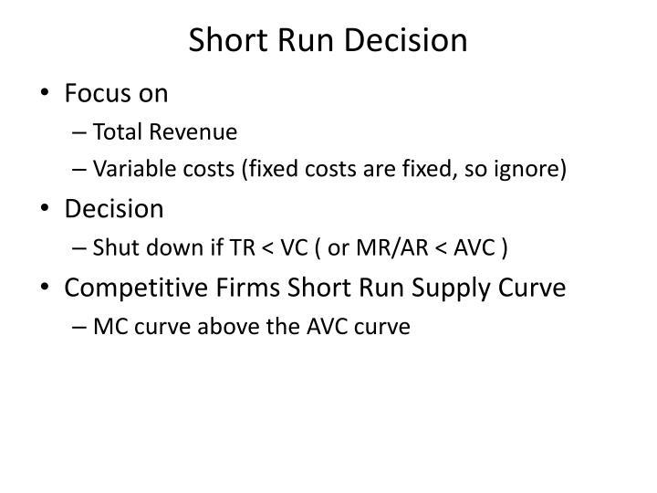 Short Run Decision