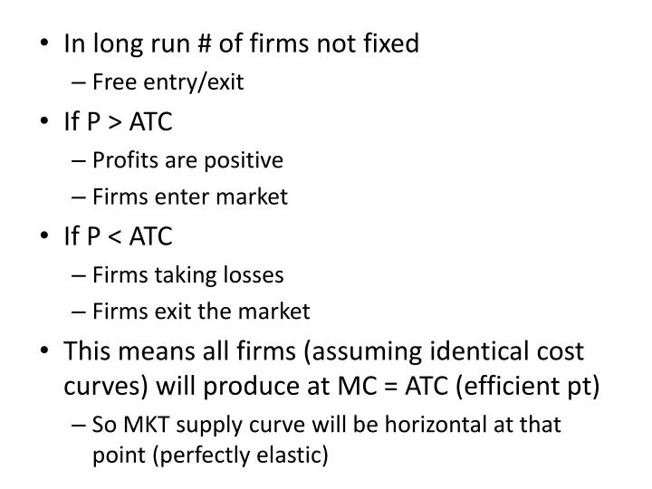 In long run # of firms not fixed