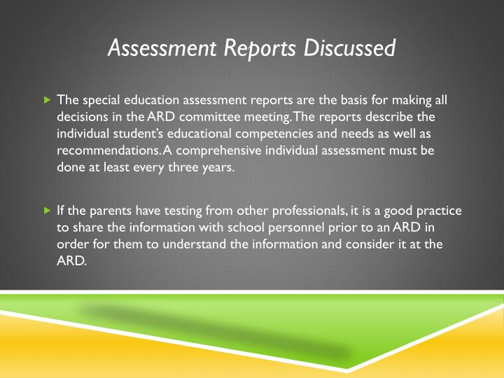 Assessment Reports Discussed