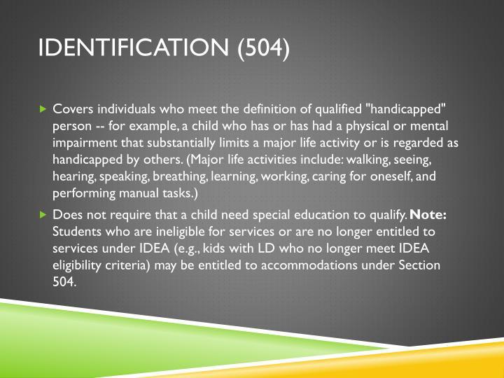 Identification (504)