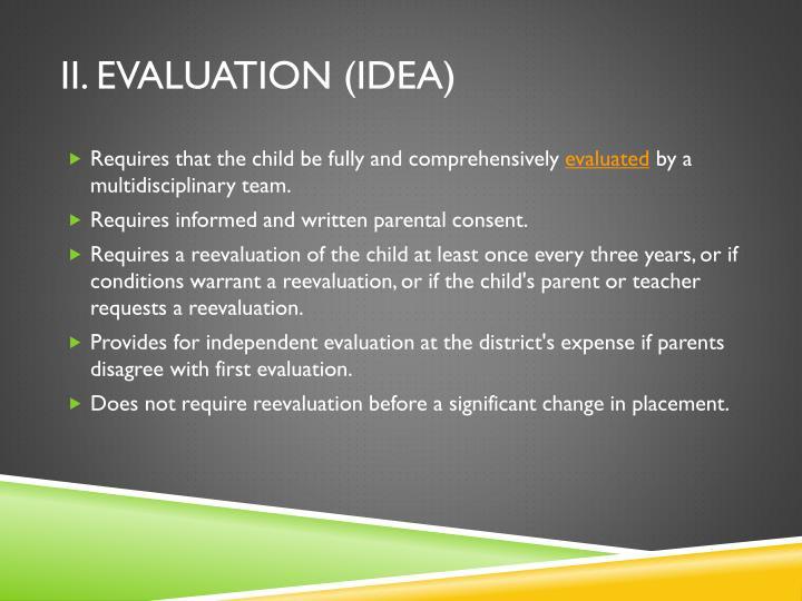 II. Evaluation (IDEA)