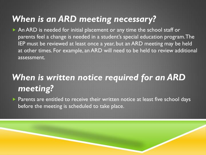 When is an ARD meeting necessary?