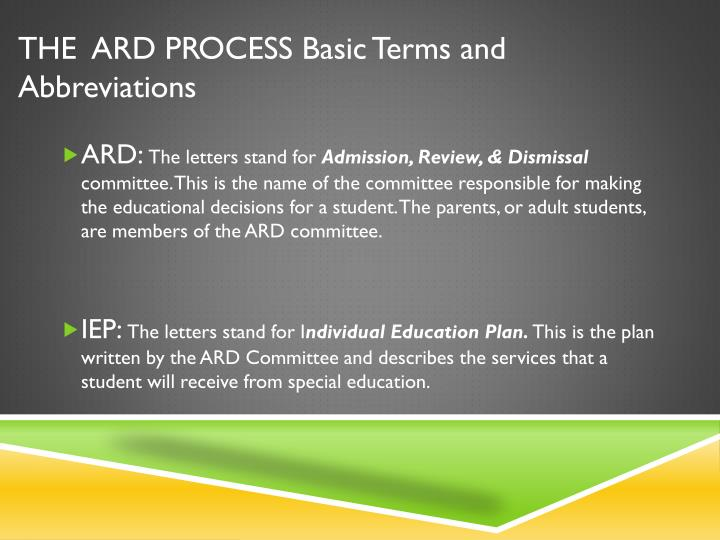 THE  ARD PROCESS Basic Terms and Abbreviations