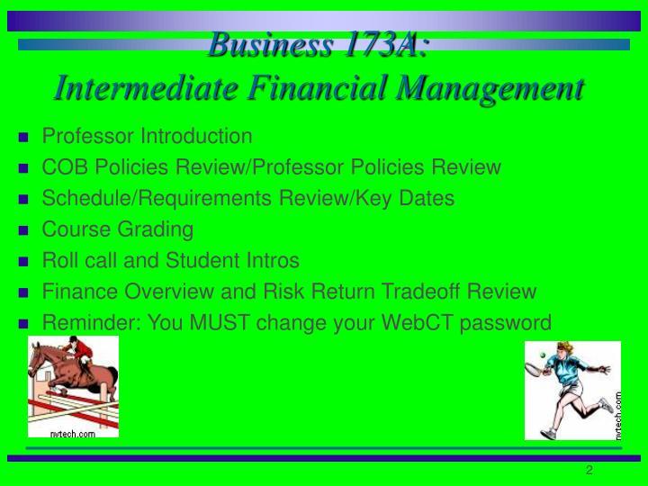 Business 173A: