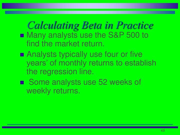 Calculating Beta in Practice