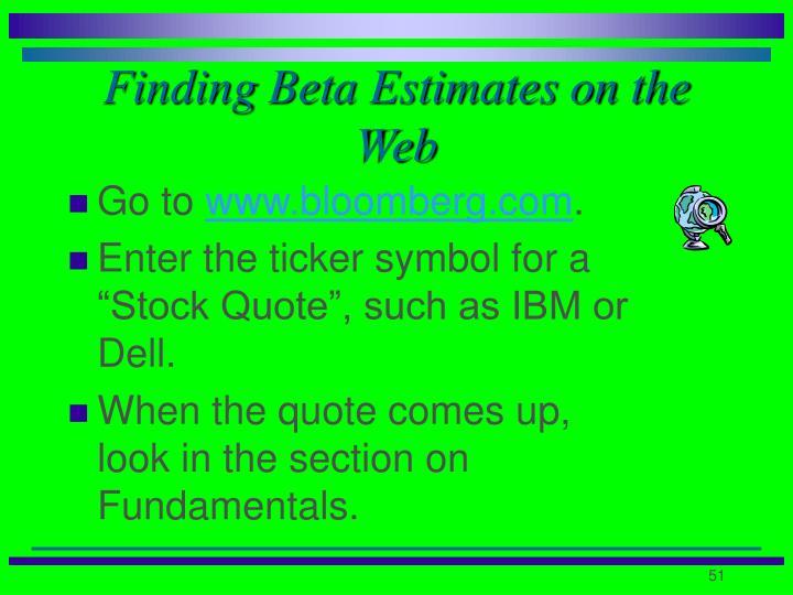 Finding Beta Estimates on the Web