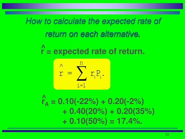 How to calculate the expected rate of return on each alternative