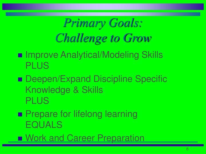 Primary Goals: