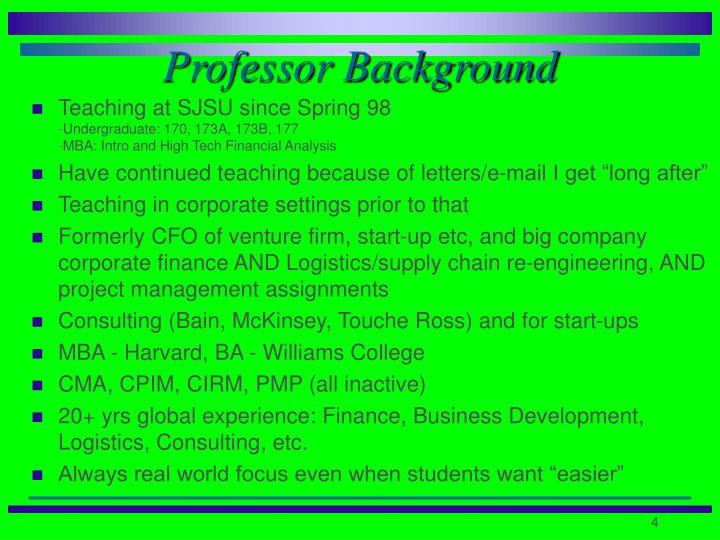 Professor Background