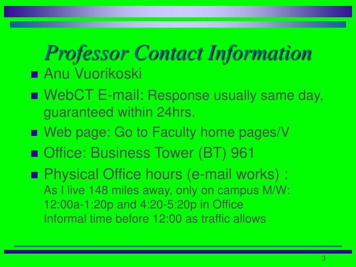 Professor Contact Information